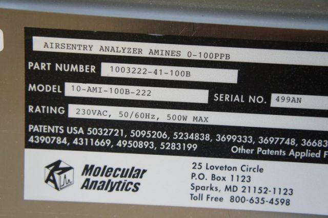 Molecular Analytics Airsentry IMS Analyzer